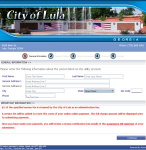 Pay Utility Account Online - Lula, Georgia